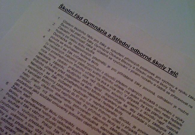 Fotografie ke článku: Výsledkem pedagogické rady je aktualizace řádu školy