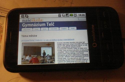 Stránky Naší školy na Androidu